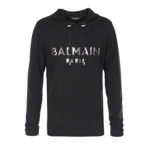 BAILMAIN PARIS - HOODIE WITH SILVER LOGO - BLACK