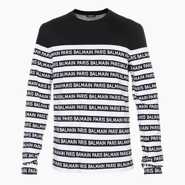 BALMAIN PARIS- T-SHIRT STRIPE WITH LOGO BLACK / WHITE