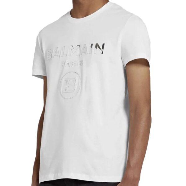 Balmain White Logo Cotton Tee