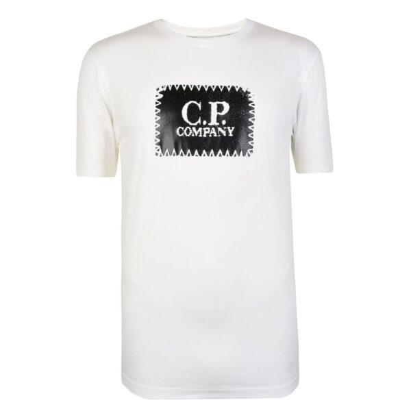 CP COMPANY T-SHIRT FRONT LOGO-CREAM