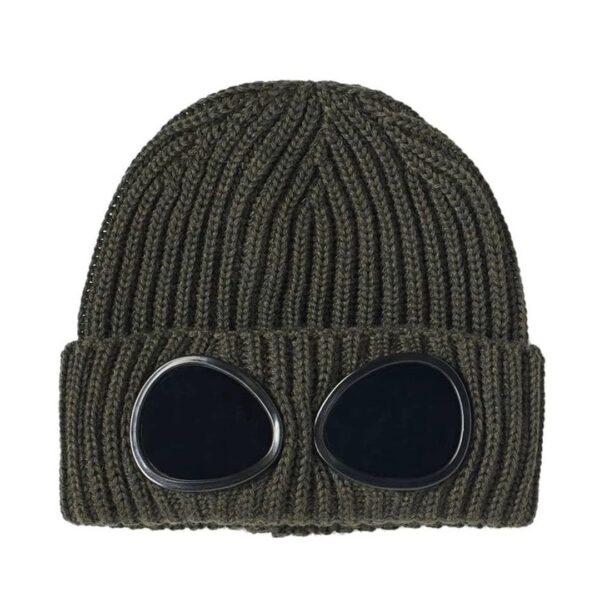 CP Company Khaki Knit Goggle Beanie