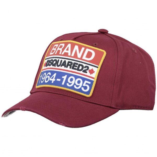 DSQUARED2 BRAND CAP IN BURGUNDY