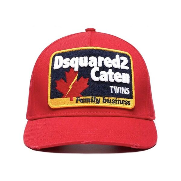DSQUARED2 EMBROIDED BASBALL CAP - RED