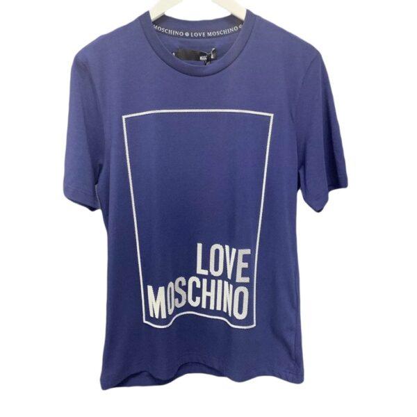 LOVE MOSCHINO - 3D PRINT LOGO T-SHIRT - BLUE