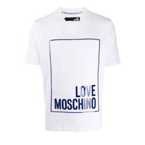 LOVE MOSCHINO LOGO T-SHIRT WHITE/BLUE