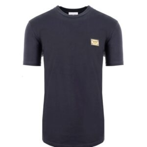MOSCHINO COUTURE - ROUND NECK T-SHIRT W METAL BADGE - NAVY
