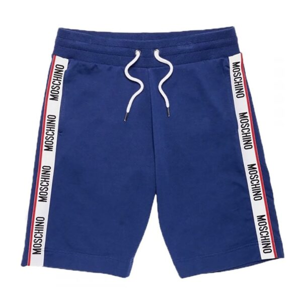 MOSCHINO SIDE TAPE SHORTS IN BLUE
