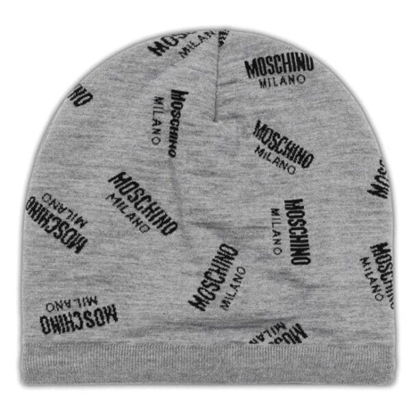 Moschino All Over Logo Print Hat in Grey/Black