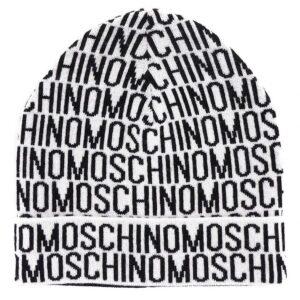 Moschino Wool Logo Hat in White/Black