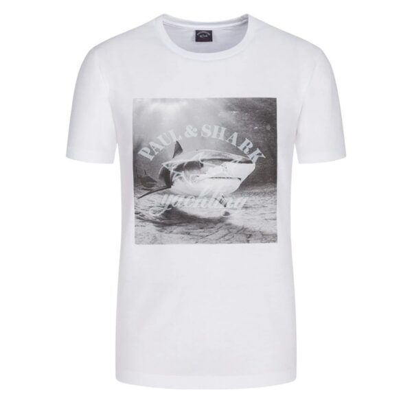 PAUL & SHARK PHOTO PRINT T-SHIRT-WHITE