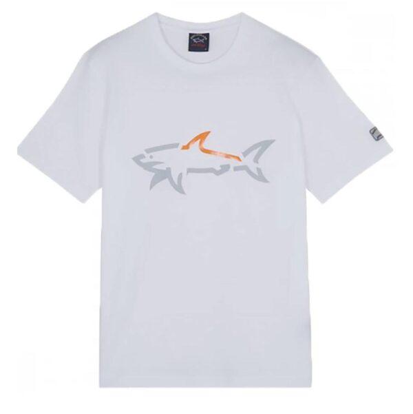 PAUL & SHARK T-SHIRT LARGE SHARK PRINT-WHITE