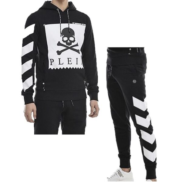 PHILIPP PLEIN-HOODIE AND TRACKSUIT BOTTOMS STATEMENT SET-BLACK AND WHITE