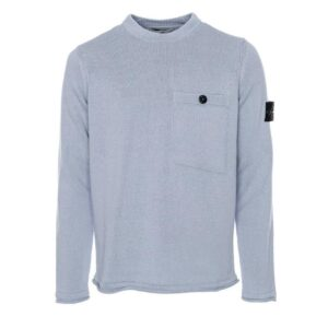 STONE ISLAND - KNITTED ROUND NECK SWEATER WITH POCKET