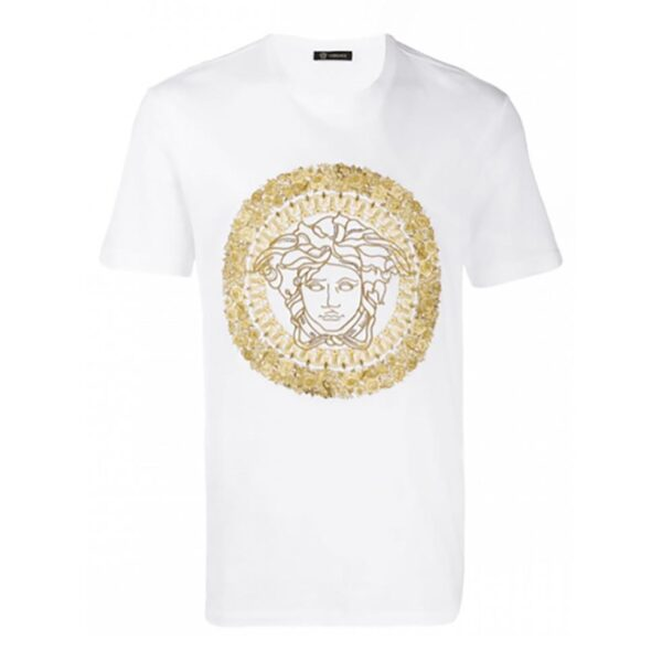 VERSACE - EMBROIDERED MEDUSA - WHITE / GOLD