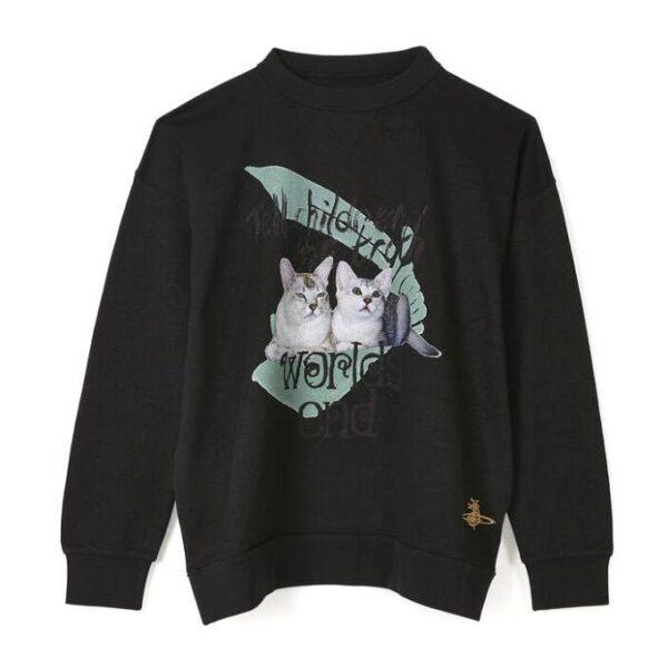 VIVIENNE WESTWOOD - CAT PRINTED JUMPER - BLACK
