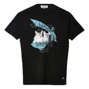 VIVIENNE WESTWOOD - CAT PRINT T-SHIRT - BLACK