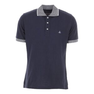 VIVIENNE WESTWOOD - CONTRAST COLLAR POLO - NAVY