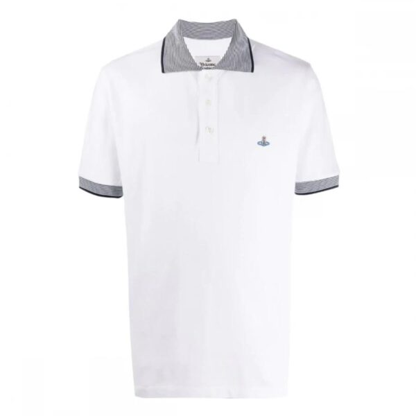 VIVIENNE WESTWOOD - CONTRAST COLLAR POLO - WHITE