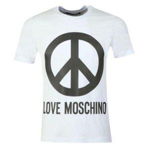 LOVE MOSCHINO PEACE LOGO WHITE AND BLACK